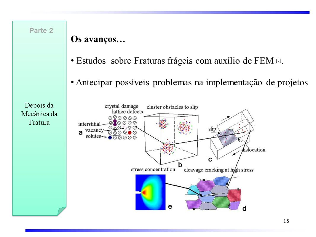 Os avanços… • Estudos sobre Fraturas frágeis com auxílio de FEM [9].