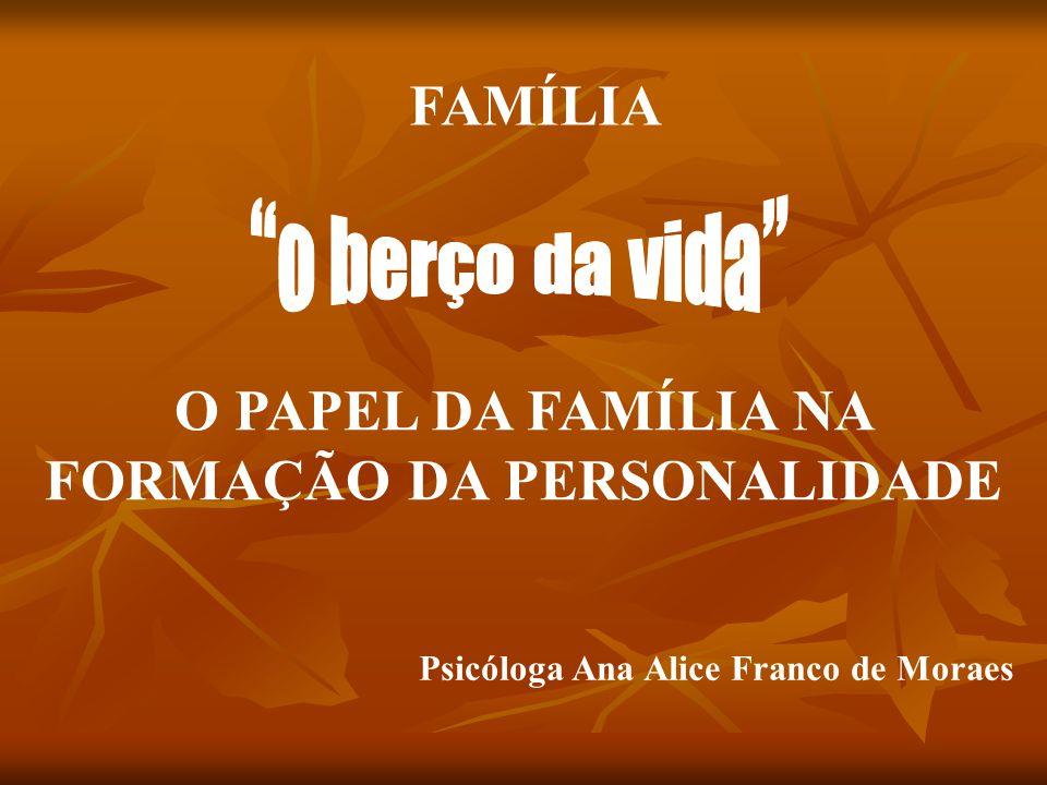 O PAPEL DA FAMÍLIA NA FORMAÇÃO DA PERSONALIDADE FAMÍLIA Psicóloga Ana Alice Franco de Moraes