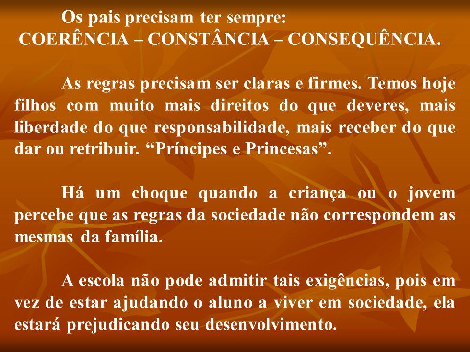 Os pais precisam ter sempre: COERÊNCIA – CONSTÂNCIA – CONSEQUÊNCIA.