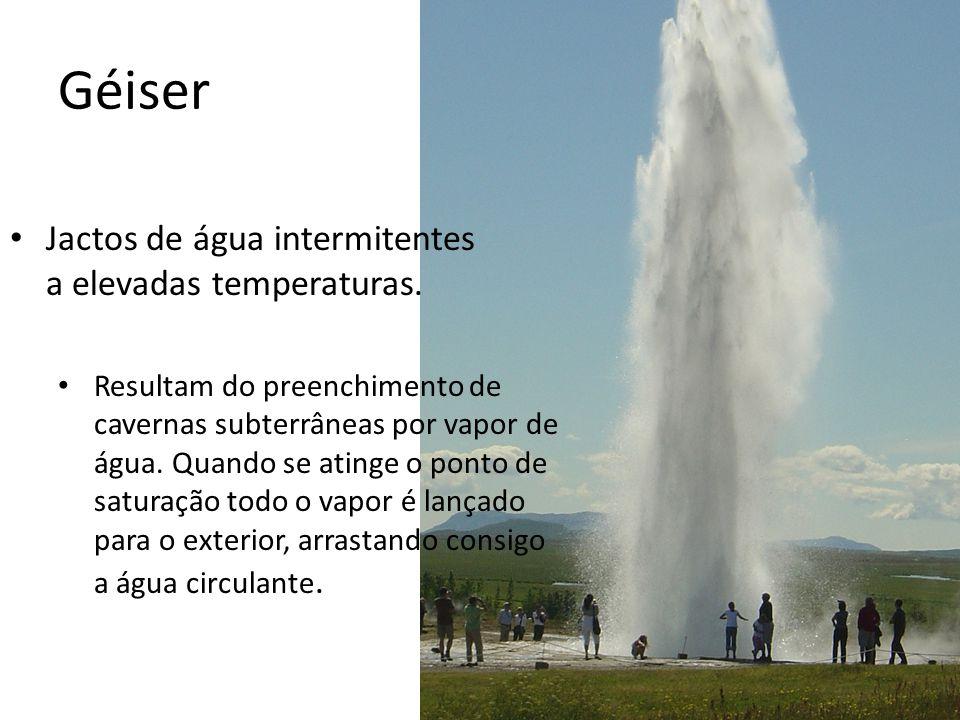 Géiser • Jactos de água intermitentes a elevadas temperaturas. • Resultam do preenchimento de cavernas subterrâneas por vapor de água. Quando se ating