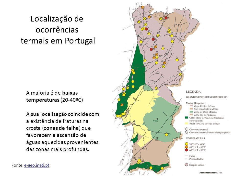 Localização de ocorrências termais em Portugal A maioria é de baixas temperaturas (20-40ºC) A sua localização coincide com a existência de fraturas na crosta (zonas de falha) que favorecem a ascensão de águas aquecidas provenientes das zonas mais profundas.