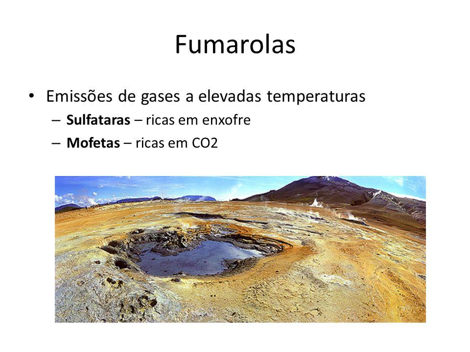 Fumarolas • Emissões de gases a elevadas temperaturas – Sulfataras – ricas em enxofre – Mofetas – ricas em CO2