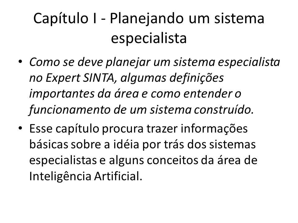 Capítulo I - Planejando um sistema especialista • Como se deve planejar um sistema especialista no Expert SINTA, algumas definições importantes da áre