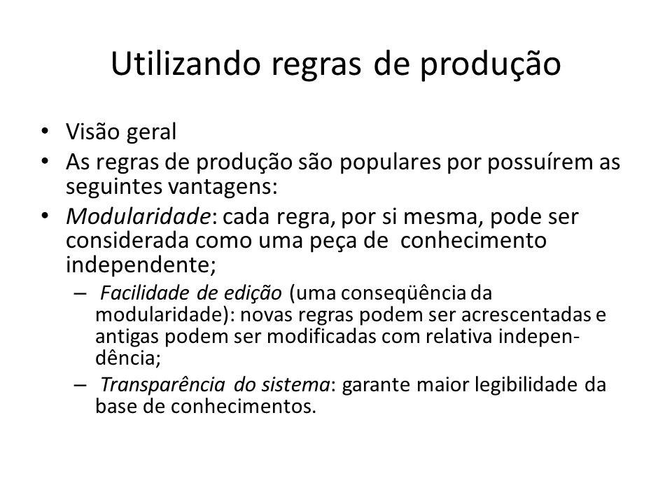 Utilizando regras de produção • Visão geral • As regras de produção são populares por possuírem as seguintes vantagens: • Modularidade: cada regra, po