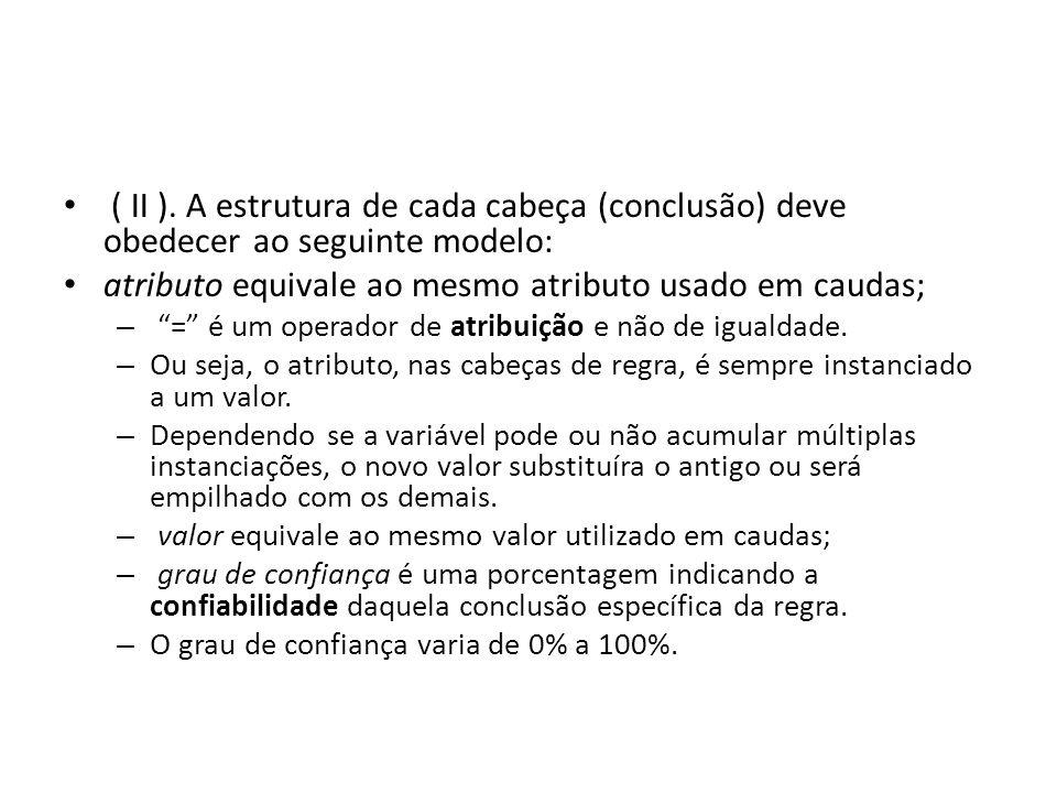 """• ( II ). A estrutura de cada cabeça (conclusão) deve obedecer ao seguinte modelo: • atributo equivale ao mesmo atributo usado em caudas; – """"="""" é um o"""