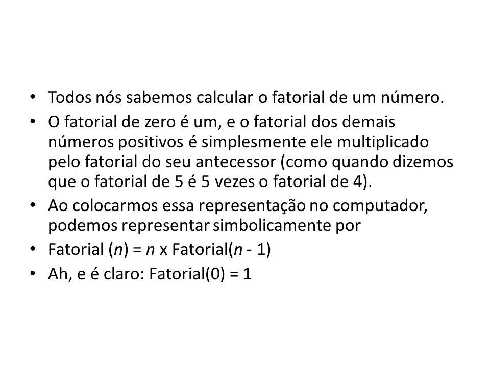 • Todos nós sabemos calcular o fatorial de um número. • O fatorial de zero é um, e o fatorial dos demais números positivos é simplesmente ele multipli