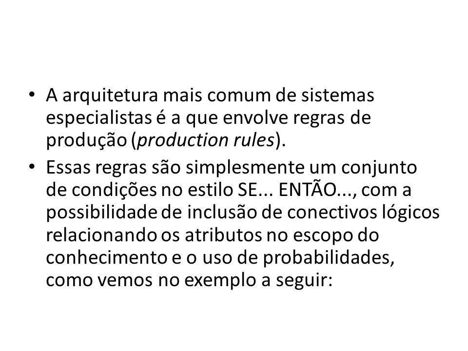 • A arquitetura mais comum de sistemas especialistas é a que envolve regras de produção (production rules). • Essas regras são simplesmente um conjunt