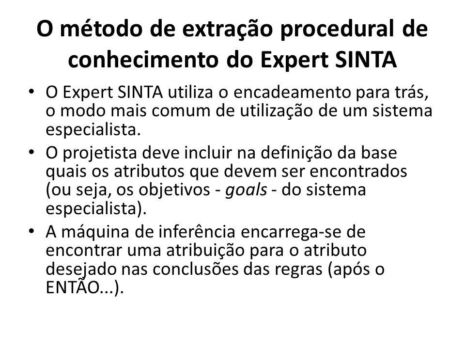 O método de extração procedural de conhecimento do Expert SINTA • O Expert SINTA utiliza o encadeamento para trás, o modo mais comum de utilização de