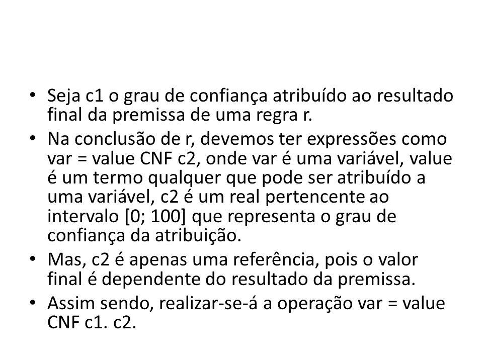 • Seja c1 o grau de confiança atribuído ao resultado final da premissa de uma regra r. • Na conclusão de r, devemos ter expressões como var = value CN