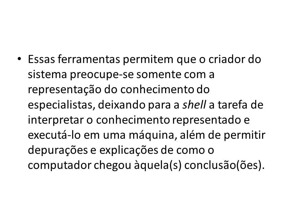 • A principal função de uma shell é simplificar ao máximo o trabalho de implementação de um sistema especialista e permitir seu uso por qualquer pessoa sem conhecimentos de informática.