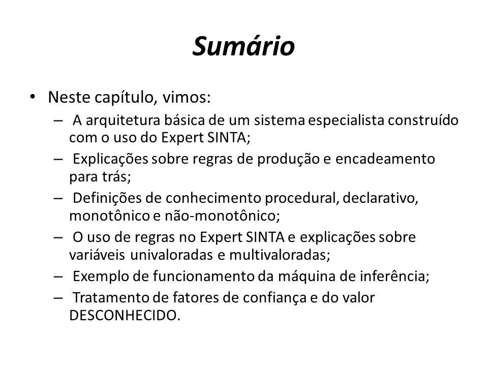 Sumário • Neste capítulo, vimos: – A arquitetura básica de um sistema especialista construído com o uso do Expert SINTA; – Explicações sobre regras de