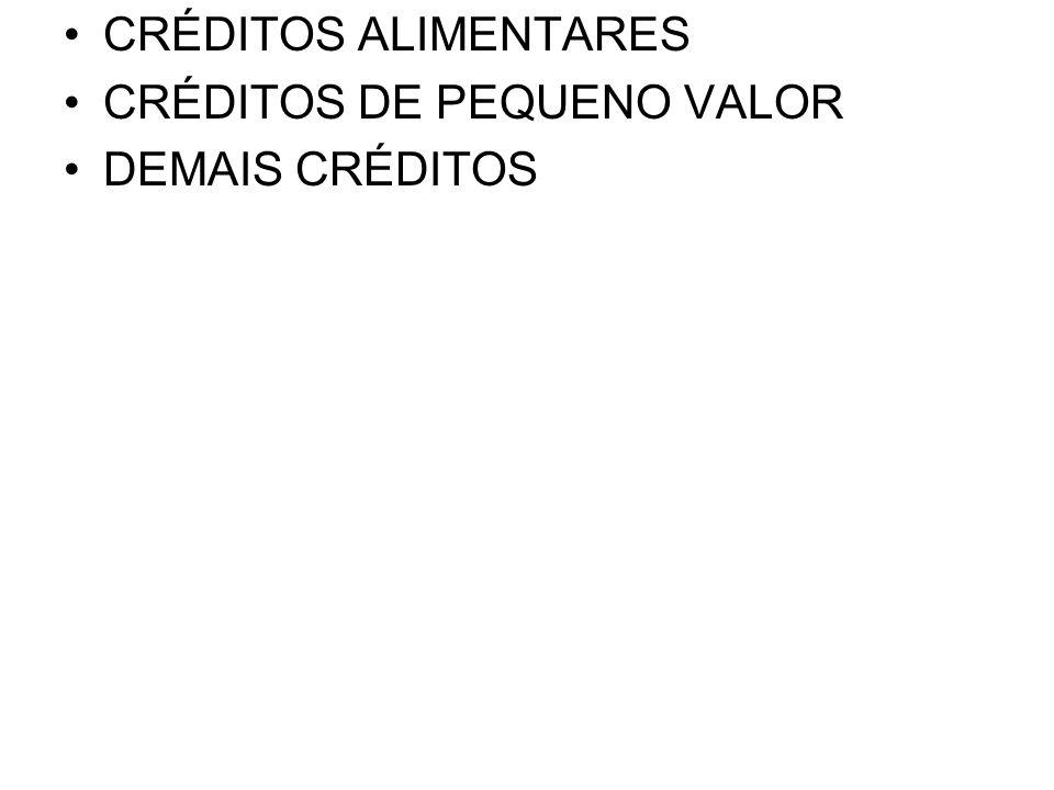 •CRÉDITOS ALIMENTARES •CRÉDITOS DE PEQUENO VALOR •DEMAIS CRÉDITOS