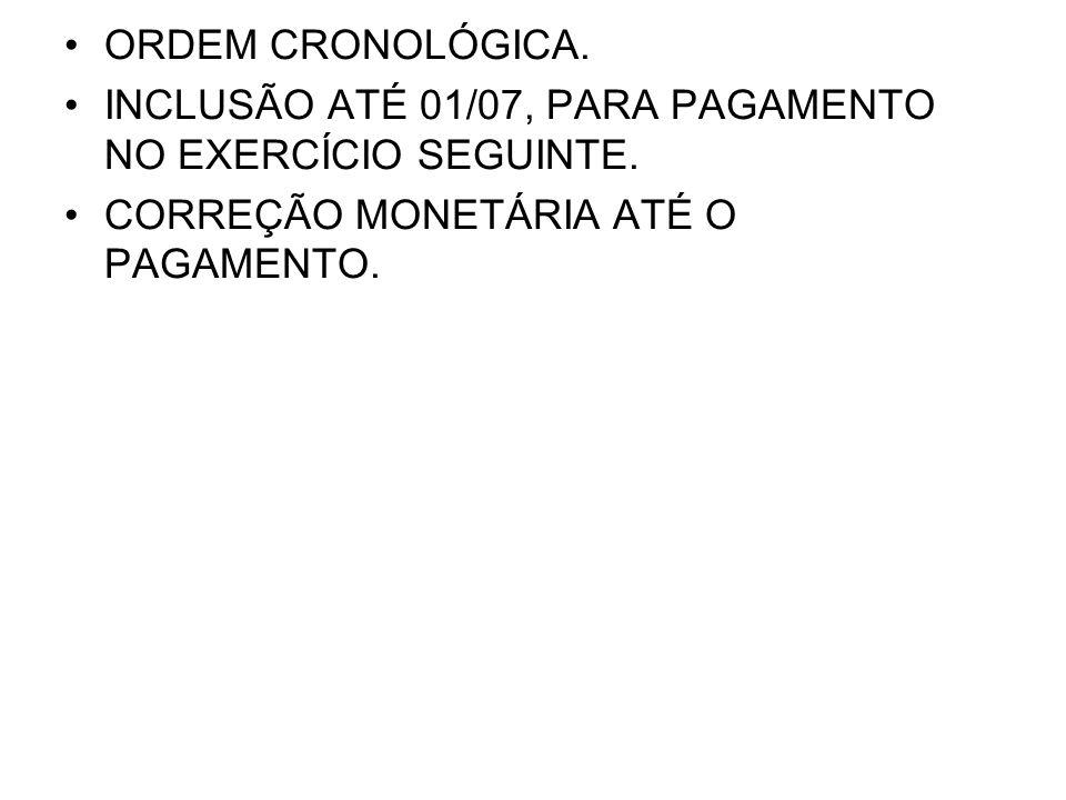 •ORDEM CRONOLÓGICA.•INCLUSÃO ATÉ 01/07, PARA PAGAMENTO NO EXERCÍCIO SEGUINTE.