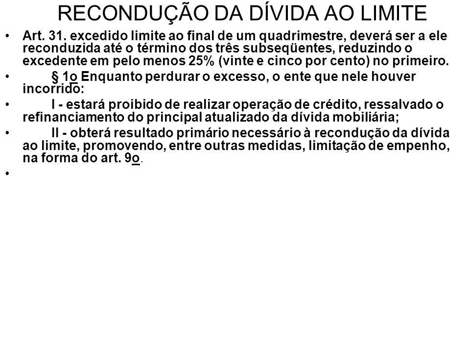 RECONDUÇÃO DA DÍVIDA AO LIMITE •Art.31.