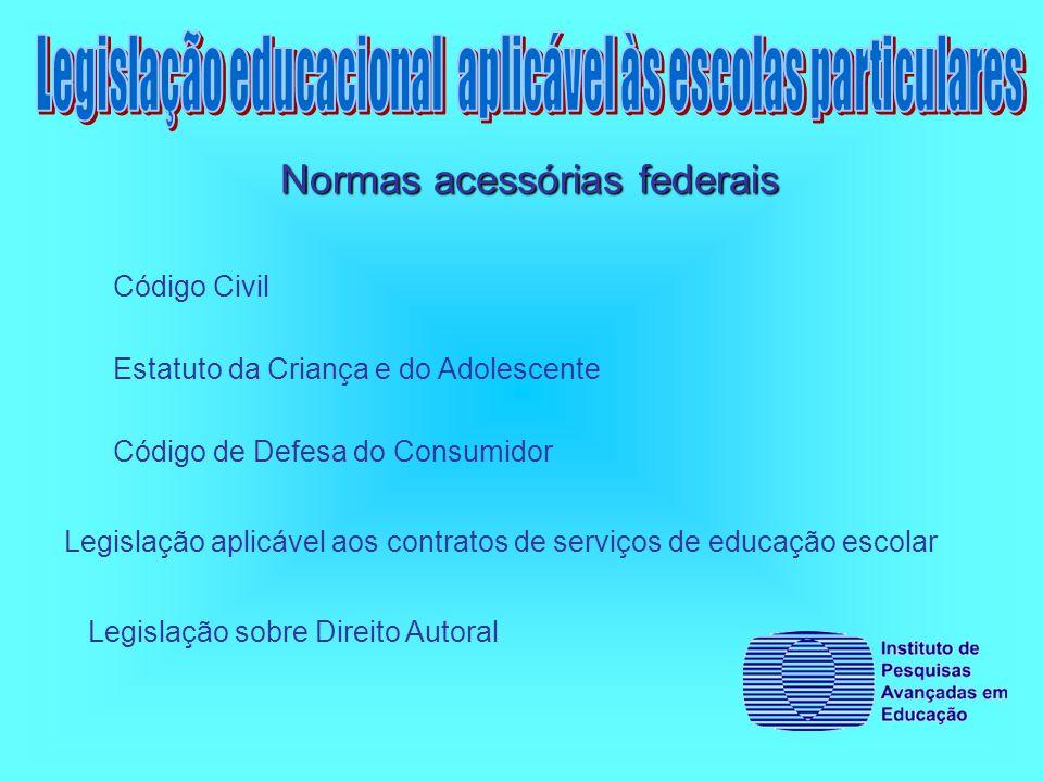 Código Civil Estatuto da Criança e do Adolescente Código de Defesa do Consumidor Legislação aplicável aos contratos de serviços de educação escolar Legislação sobre Direito Autoral Normas acessórias federais