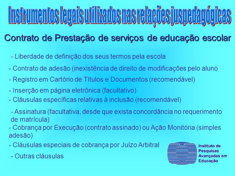- Liberdade de definição dos seus termos pela escola Contrato de Prestação de serviços de educação escolar - Contrato de adesão (inexistência de direito de modificações pelo aluno - Registro em Cartório de Títulos e Documentos (recomendável) - Inserção em página eletrônica (facultativo) - Cláusulas específicas relativas à inclusão (recomendável) - Assinatura (facultativa, desde que exista concordância no requerimento de matrícula) - Cobrança por Execução (contrato assinado) ou Ação Monitória (simples adesão) - Cláusulas especiais de cobrança por Juízo Arbitral - Outras cláusulas