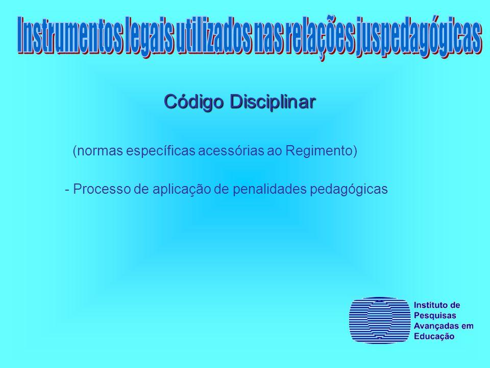 Código Disciplinar (normas específicas acessórias ao Regimento) - Processo de aplicação de penalidades pedagógicas