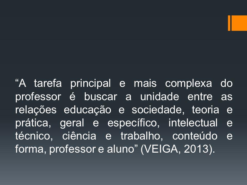 """""""A tarefa principal e mais complexa do professor é buscar a unidade entre as relações educação e sociedade, teoria e prática, geral e específico, inte"""