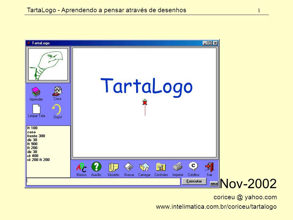 TartaLogo - Aprendendo a pensar através de desenhos 1 TartaLogo Nov-2002 coriceu @ yahoo.com www.intelimatica.com.br/coriceu/tartalogo