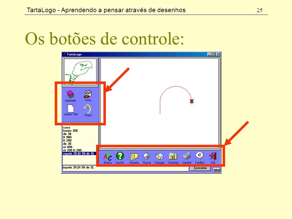 TartaLogo - Aprendendo a pensar através de desenhos 25 Os botões de controle: