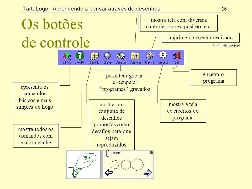 TartaLogo - Aprendendo a pensar através de desenhos 26 Os botões de controle apresenta os comandos básicos e mais simples do Logo mostra todos os coma