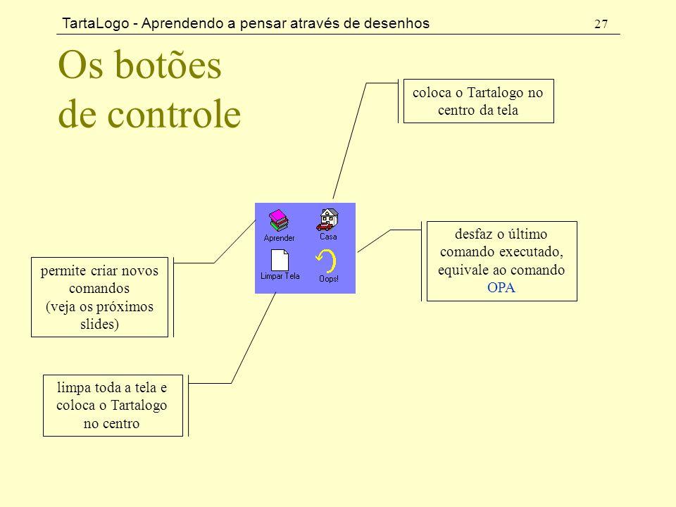 TartaLogo - Aprendendo a pensar através de desenhos 27 Os botões de controle coloca o Tartalogo no centro da tela desfaz o último comando executado, e