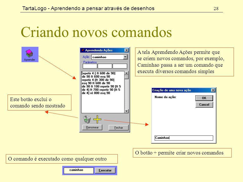 TartaLogo - Aprendendo a pensar através de desenhos 28 Criando novos comandos A tela Aprendendo Ações permite que se criem novos comandos, por exemplo