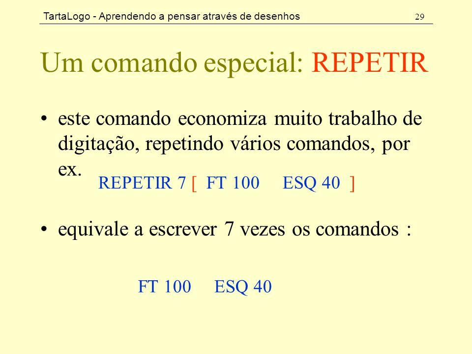 TartaLogo - Aprendendo a pensar através de desenhos 29 Um comando especial: REPETIR •este comando economiza muito trabalho de digitação, repetindo vár