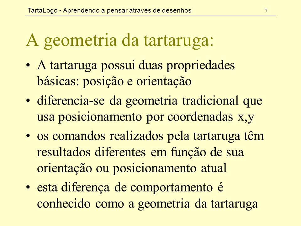 TartaLogo - Aprendendo a pensar através de desenhos 7 A geometria da tartaruga: •A tartaruga possui duas propriedades básicas: posição e orientação •d