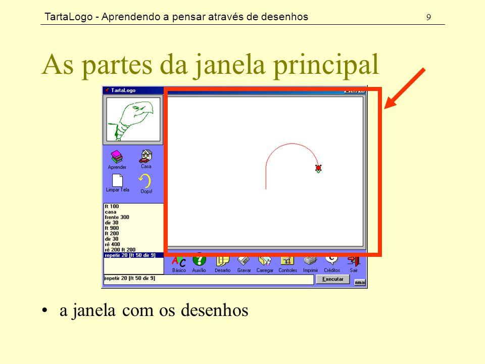 TartaLogo - Aprendendo a pensar através de desenhos 9 As partes da janela principal •a janela com os desenhos