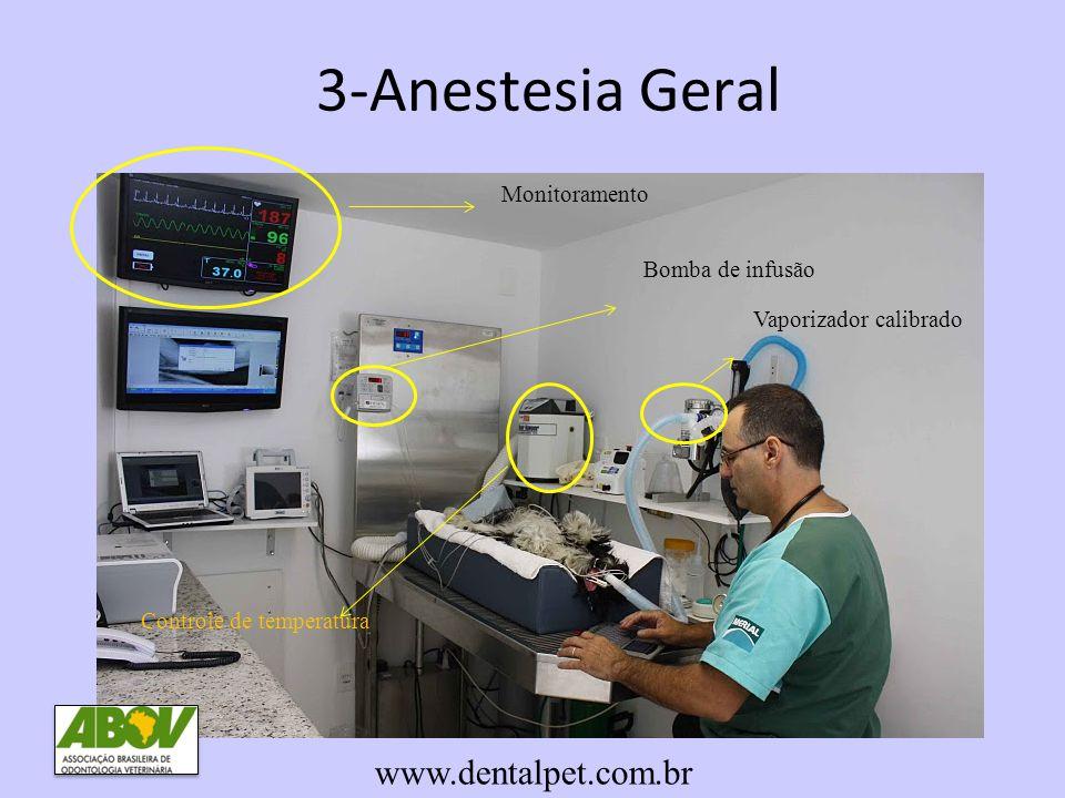 3-Anestesia Geral www.dentalpet.com.br Monitoramento Bomba de infusão Vaporizador calibrado Controle de temperatura