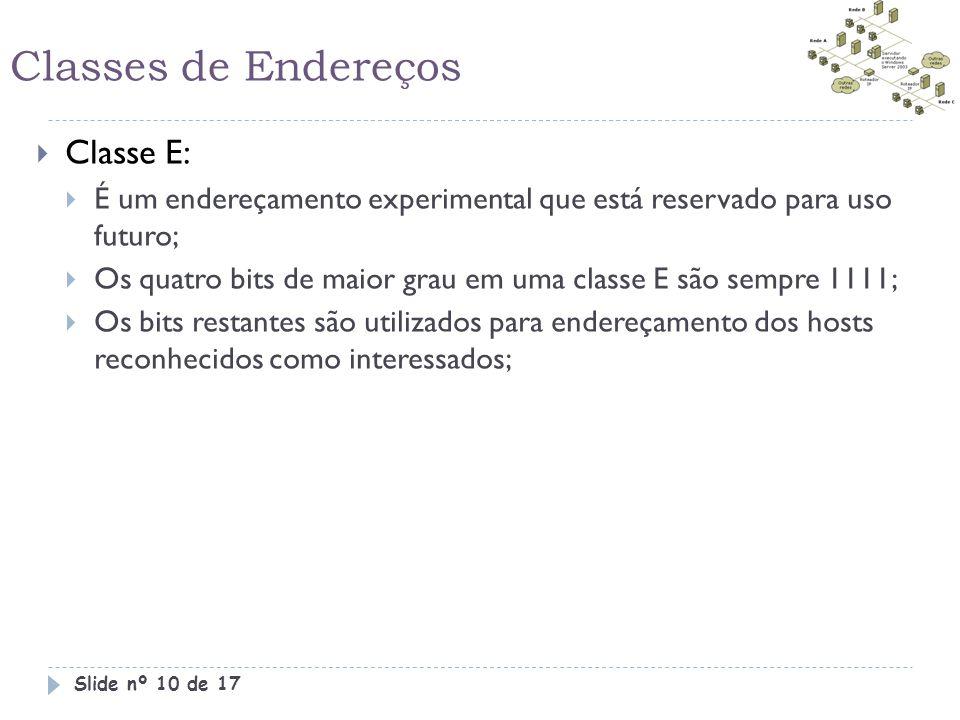 Classes de Endereços  Classe E:  É um endereçamento experimental que está reservado para uso futuro;  Os quatro bits de maior grau em uma classe E