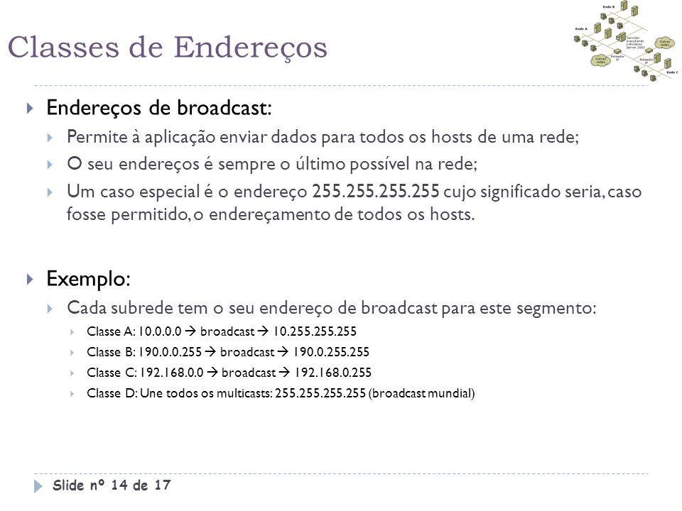 Classes de Endereços  Endereços de broadcast:  Permite à aplicação enviar dados para todos os hosts de uma rede;  O seu endereços é sempre o último