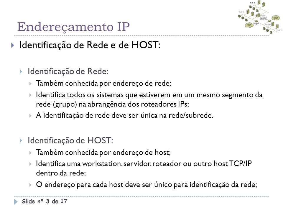 Endereçamento IP Slide nº 3 de 17  Identificação de Rede e de HOST:  Identificação de Rede:  Também conhecida por endereço de rede;  Identifica to