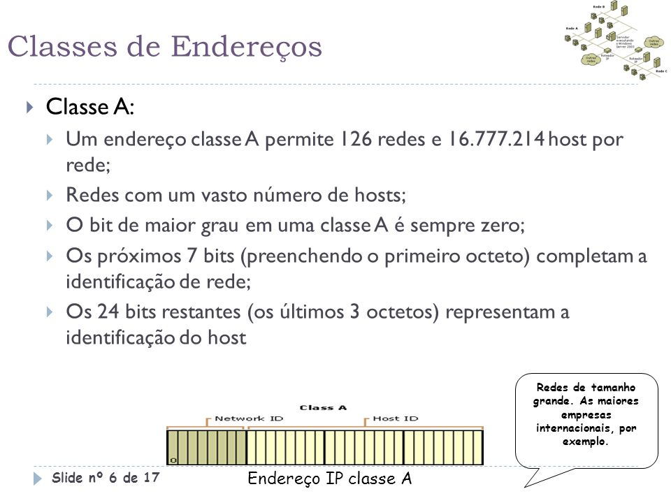 Classes de Endereços  Classe A:  Um endereço classe A permite 126 redes e 16.777.214 host por rede;  Redes com um vasto número de hosts;  O bit de