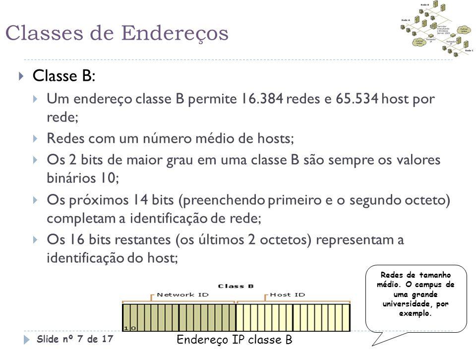 Classes de Endereços  Classe B:  Um endereço classe B permite 16.384 redes e 65.534 host por rede;  Redes com um número médio de hosts;  Os 2 bits