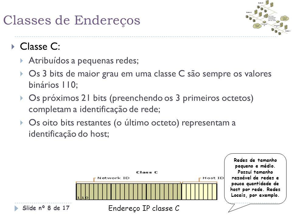 Classes de Endereços  Classe C:  Atribuídos a pequenas redes;  Os 3 bits de maior grau em uma classe C são sempre os valores binários 110;  Os pró