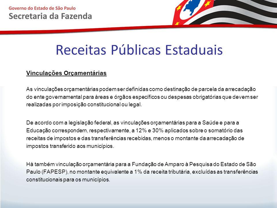 Receitas Públicas Estaduais Vinculações Orçamentárias As vinculações orçamentárias podem ser definidas como destinação de parcela da arrecadação do en