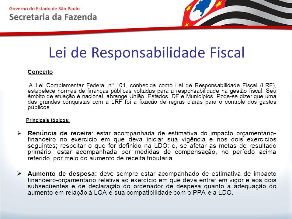 Lei de Responsabilidade Fiscal Conceito A Lei Complementar Federal nº 101, conhecida como Lei de Responsabilidade Fiscal (LRF), estabelece normas de f