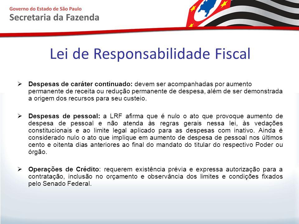 Lei de Responsabilidade Fiscal  Despesas de caráter continuado: devem ser acompanhadas por aumento permanente de receita ou redução permanente de des