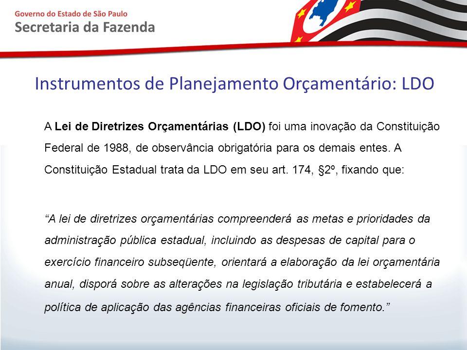 Instrumentos de Planejamento Orçamentário: LDO  A LDO tem a função de desdobrar o planejamento de longo prazo, contido no PPA, em cada ano, apontando quais os programas a serem enfatizados no orçamento anual;  Ditar regras para a execução orçamentária.