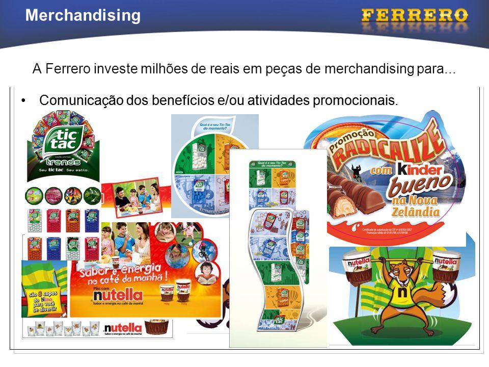 Merchandising A Ferrero investe milhões de reais em peças de merchandising para... •Comunicação dos benefícios e/ou atividades promocionais.