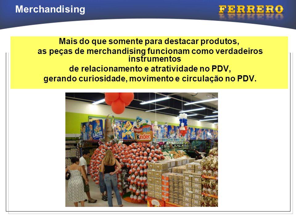 Merchandising Mais do que somente para destacar produtos, as peças de merchandising funcionam como verdadeiros instrumentos de relacionamento e atrati