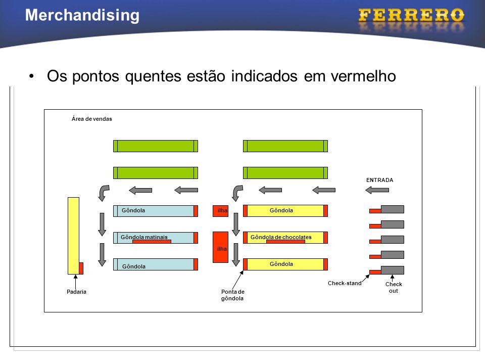 Merchandising Gôndola Gôndola matinais Gôndola Gôndola de chocolates Gôndola Ponta de gôndola Check-stand Check out Padaria ilha ENTRADA Área de venda