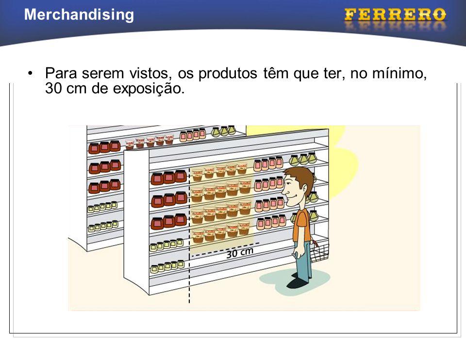 Merchandising •Para serem vistos, os produtos têm que ter, no mínimo, 30 cm de exposição.