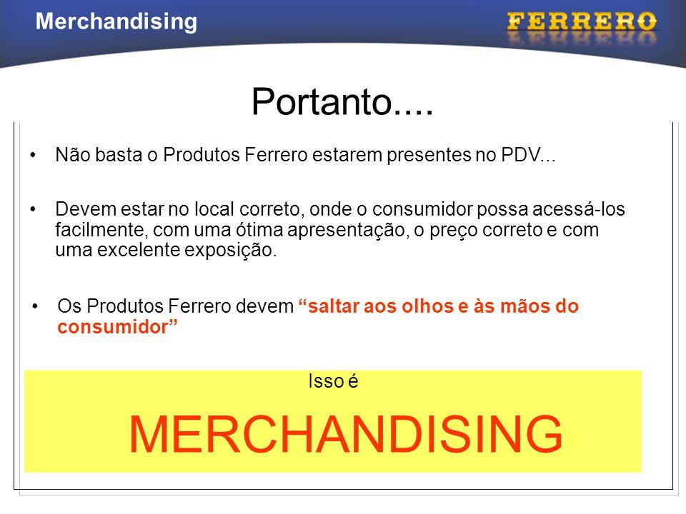 Merchandising MERCHANDISING Não é enfeitar a loja MERCHANDISING É um conjunto de ações previamente planejadas, efetuadas na loja, que têm como objetivo fazer com que o Consumidor DECIDA-SE PELA COMPRA DOS PRODUTOS FERRERO
