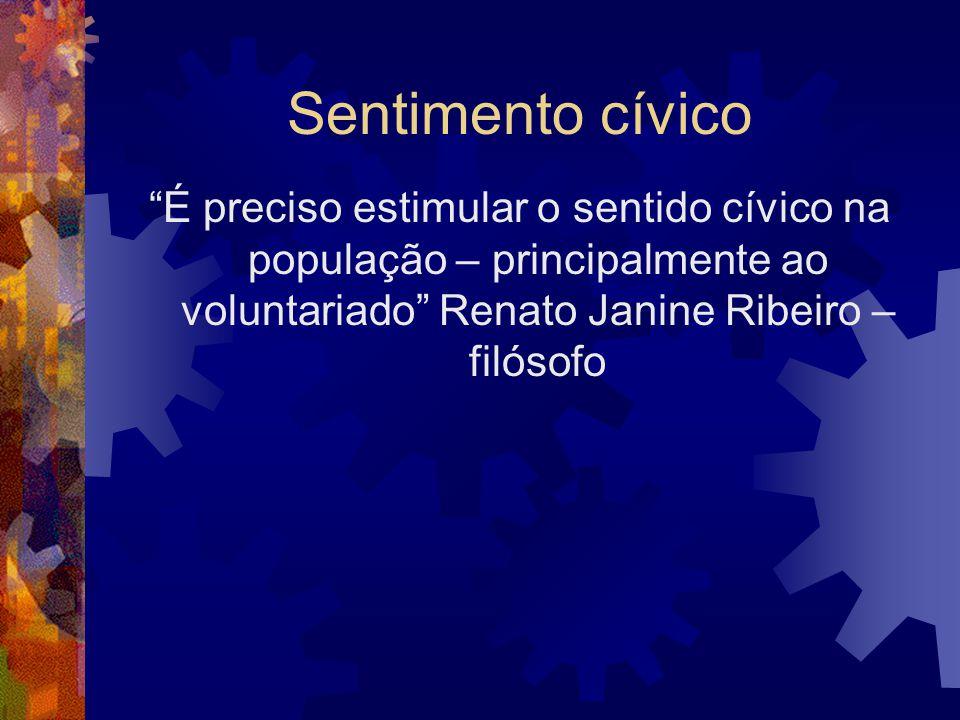 Sentimento cívico É preciso estimular o sentido cívico na população – principalmente ao voluntariado Renato Janine Ribeiro – filósofo