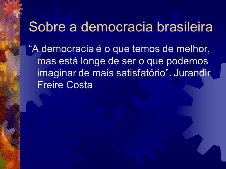 Sobre a democracia brasileira A democracia é o que temos de melhor, mas está longe de ser o que podemos imaginar de mais satisfatório .