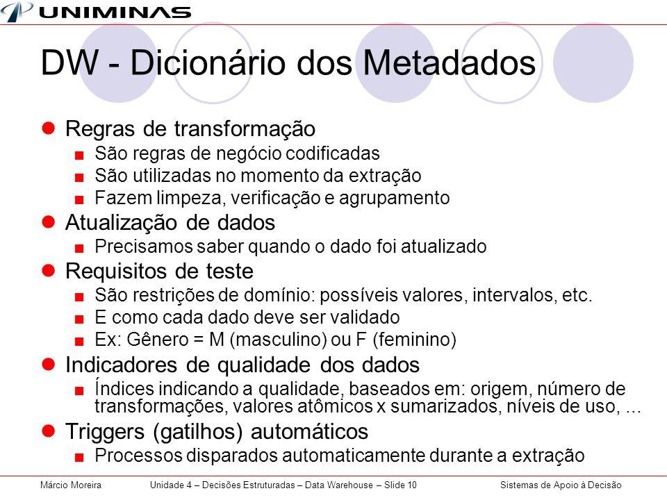 Sistemas de Apoio à DecisãoMárcio MoreiraUnidade 4 – Decisões Estruturadas – Data Warehouse – Slide 10 DW - Dicionário dos Metadados  Regras de trans