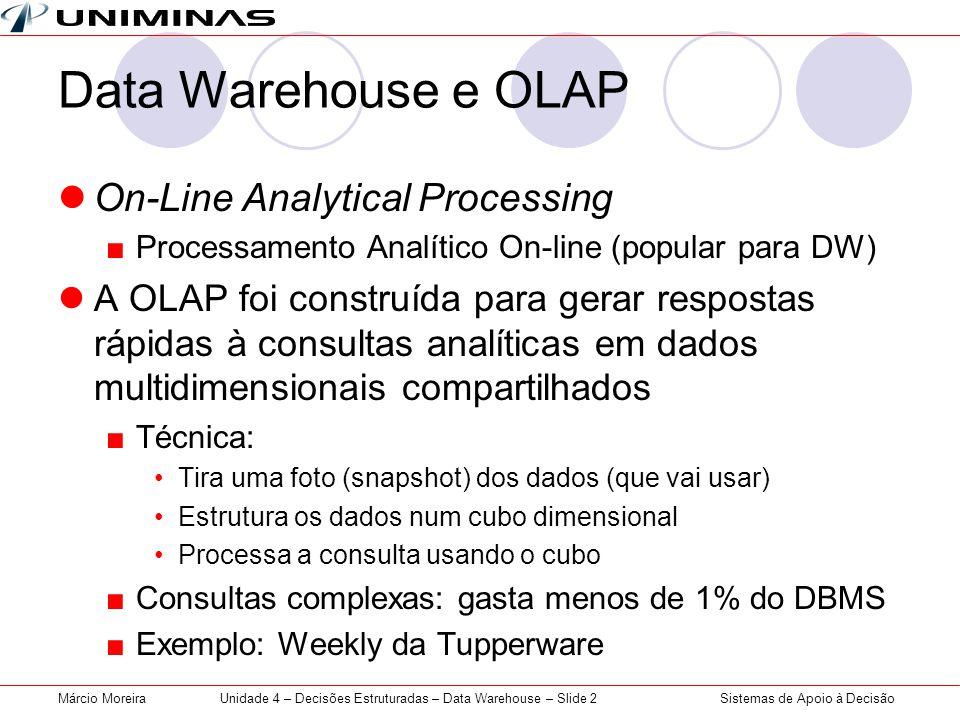 Sistemas de Apoio à DecisãoMárcio MoreiraUnidade 4 – Decisões Estruturadas – Data Warehouse – Slide 2 Data Warehouse e OLAP  On-Line Analytical Proce
